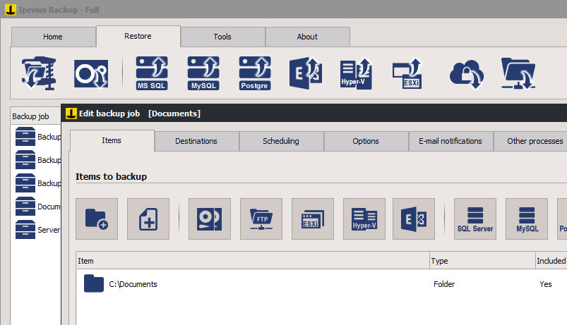 Iperius BackUp Captura de pantalla